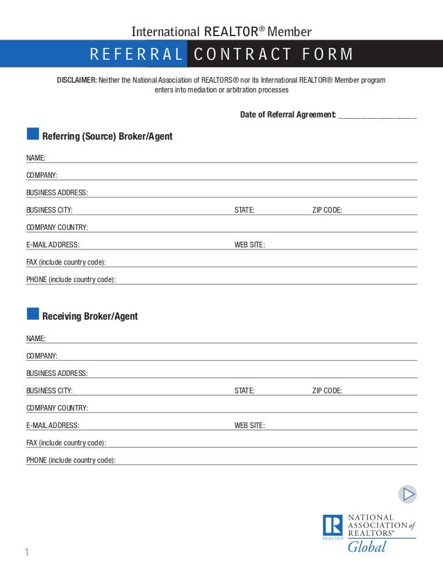 International buyer seller referral form for Referral document template