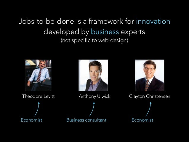 Theodore Levitt Anthony Ulwick Clayton Christensen Jobs-to-be-done is a framework for innovation developed by business exp...