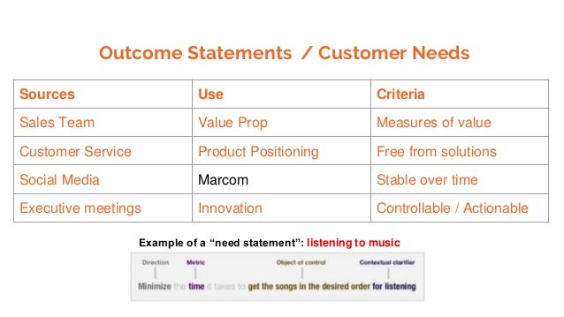Outcome Statements / Customer Needs Sources Use Criteria Sales Team Value Prop Measures of value Customer Service Product ...