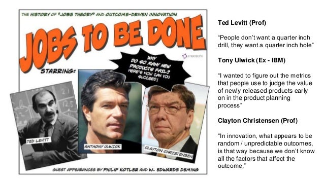 """Ted Levitt (Prof) """"People don't want a quarter inch drill, they want a quarter inch hole"""" Tony Ulwick (Ex - IBM) """"I wanted..."""