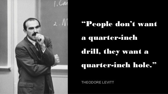 """""""People don't want a quarter-inch drill, they want a quarter-inch hole."""" THEODORE LEVITT"""