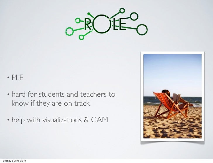 • PLE      • hard for students and teachers to        know if they are on track      • help            with visualizations...