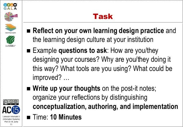 Lehrstuhl Informatik 5 (Information Systems) Prof. Dr. M. Jarke 11 Task  Reflect on your own learning design practice and...