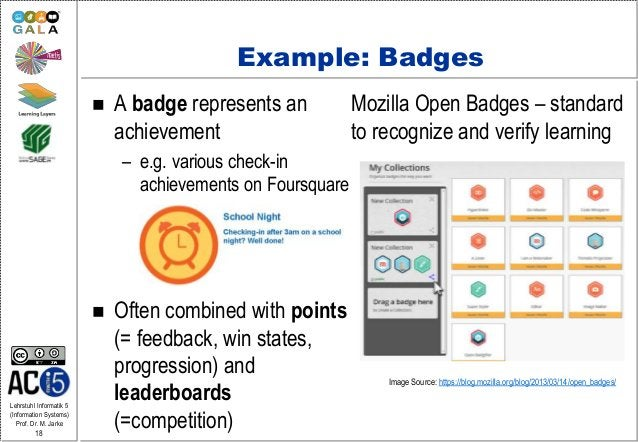 Lehrstuhl Informatik 5 (Information Systems) Prof. Dr. M. Jarke 18 Example: Badges  A badge represents an achievement – e...