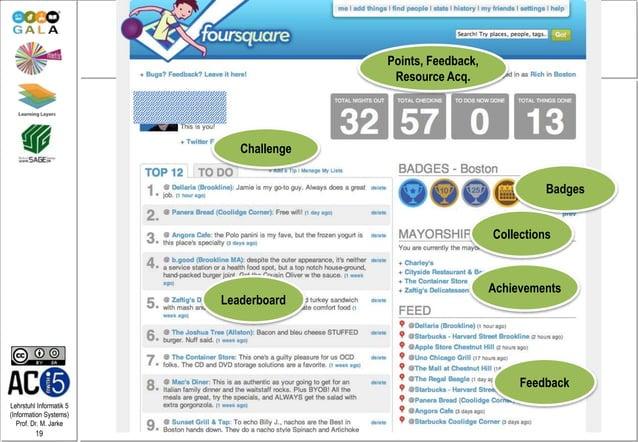 Lehrstuhl Informatik 5 (Information Systems) Prof. Dr. M. Jarke 19 Example: Foursquare Leaderboard Achievements Badges Poi...
