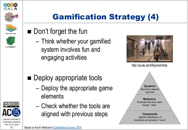 Lehrstuhl Informatik 5 (Information Systems) Prof. Dr. M. Jarke 25 Gamification Strategy (4)  Don't forget the fun – Thin...