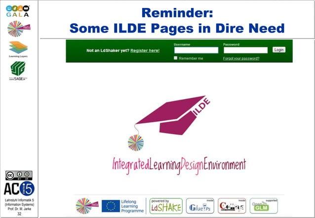 Lehrstuhl Informatik 5 (Information Systems) Prof. Dr. M. Jarke 32 Reminder: Some ILDE Pages in Dire Need