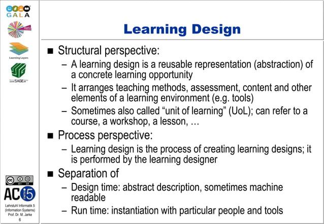 Lehrstuhl Informatik 5 (Information Systems) Prof. Dr. M. Jarke 6 Learning Design  Structural perspective: – A learning d...