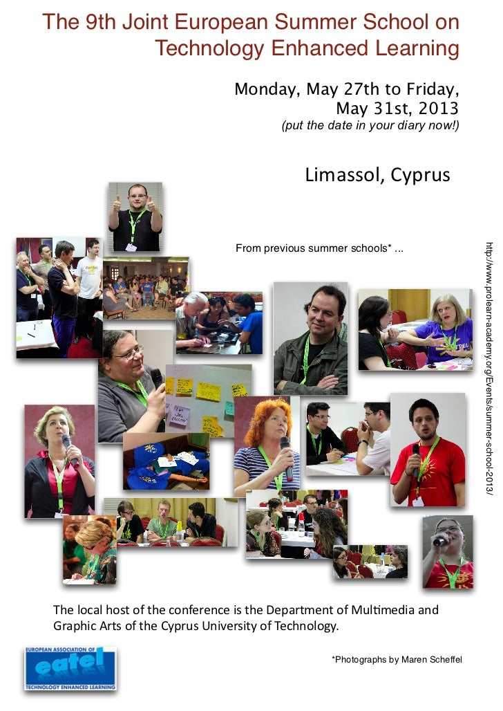 The 9th Joint European Summer School on           Technology Enhanced Learning                                Monday, May ...