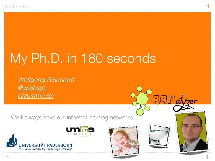 1     My Ph.D. in 180 seconds   Wolfgang Reinhardt   @wollepb   isitjustme.de   We'll always have our informal learning ne...