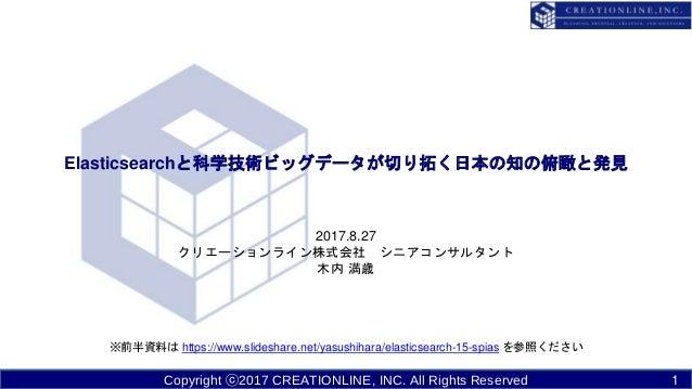 Copyright ⓒ2017 CREATIONLINE, INC. All Rights Reserved Elasticsearchと科学技術ビッグデータが切り拓く日本の知の俯瞰と発見 2017.8.27 クリエーションライン株式会社 シニ...