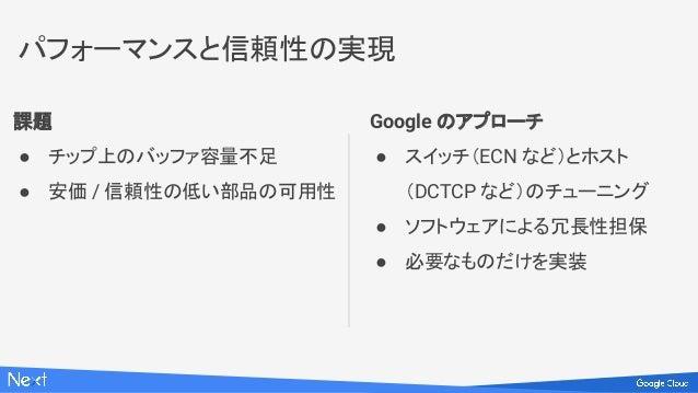 課題 ● チップ上のバッファ容量不足 ● 安価 / 信頼性の低い部品の可用性 Google のアプローチ ● スイッチ(ECN など)とホスト (DCTCP など)のチューニング ● ソフトウェアによる冗長性担保 ● 必要なものだけを実装 パフ...