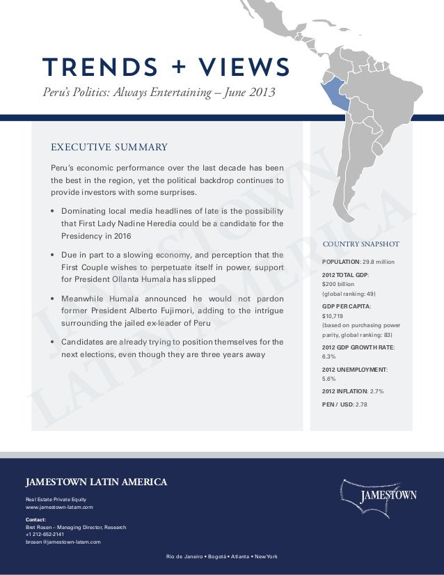 EXECUTIVE SUMMARY Peru's economic performance over the last decade has been the best in the region, yet the political back...