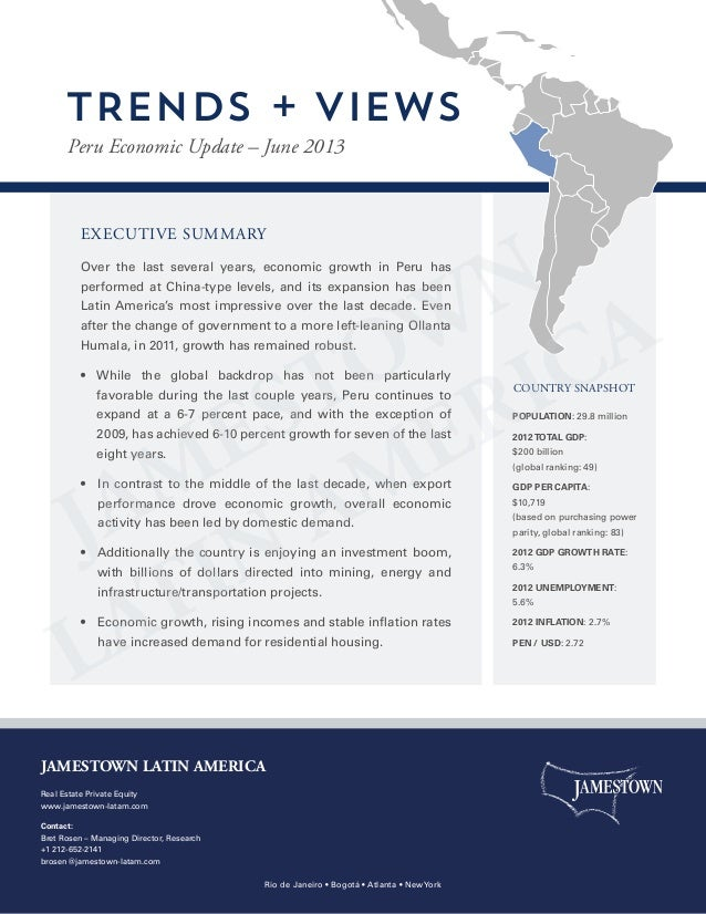 EXECUTIVE SUMMARYOver the last several years, economic growth in Peru hasperformed at China-type levels, and its expansion...