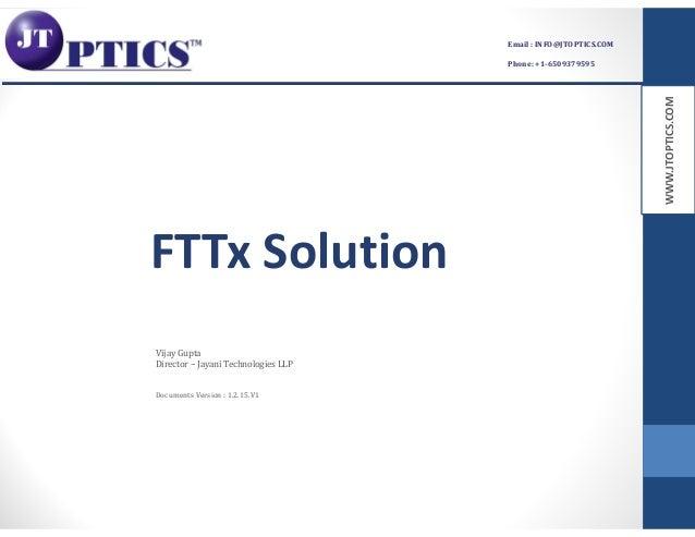 WWW.JTOPTICS.COM Email : INFO@JTOPTICS.COM Phone: +1-6509379595 FTTx Solution Documents Version : 1.2.15.V1 Vijay Gupta Di...
