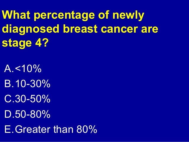 What percentage of newly  diagnosed breast cancer are  stage 4?  A.<10%  B.10-30%  C.30-50%  D.50-80%  E.Greater than 80%