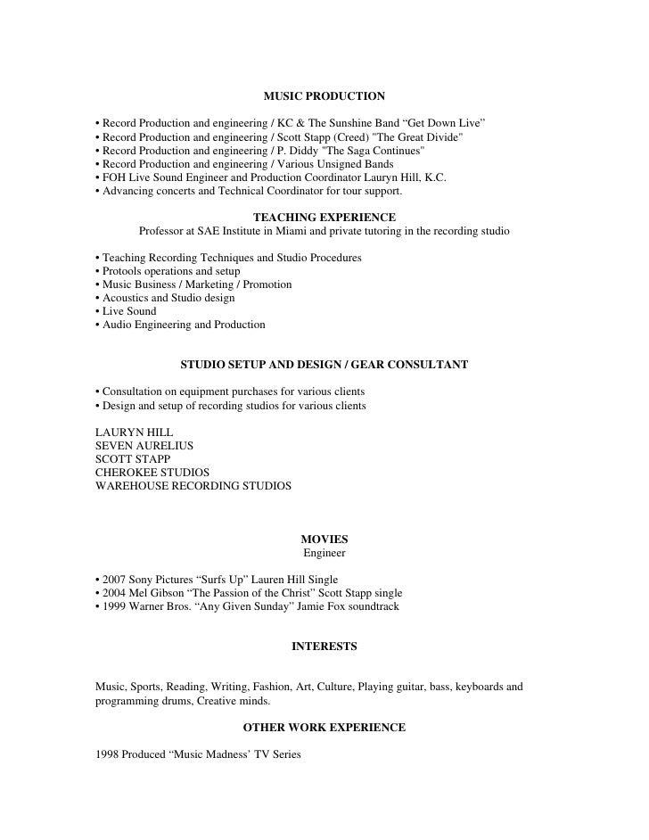 brittni s acting resume - Music Producer Resume