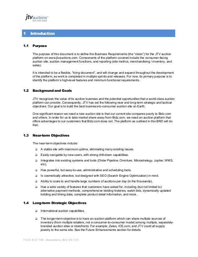 business requirements document sample