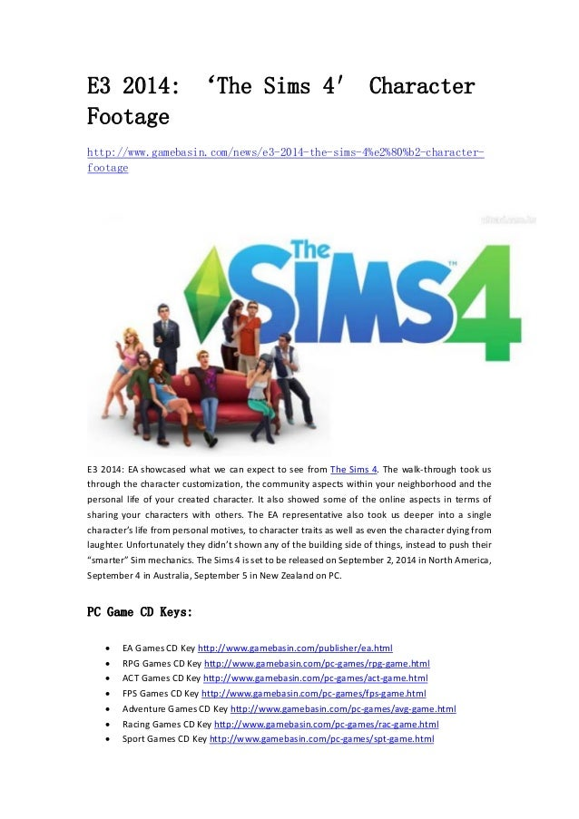 E3 2014: 'The Sims 4′ Character  Footage  http://www.gamebasin.com/news/e3-2014-the-sims-4%e2%80%b2-character-footage  E3 ...