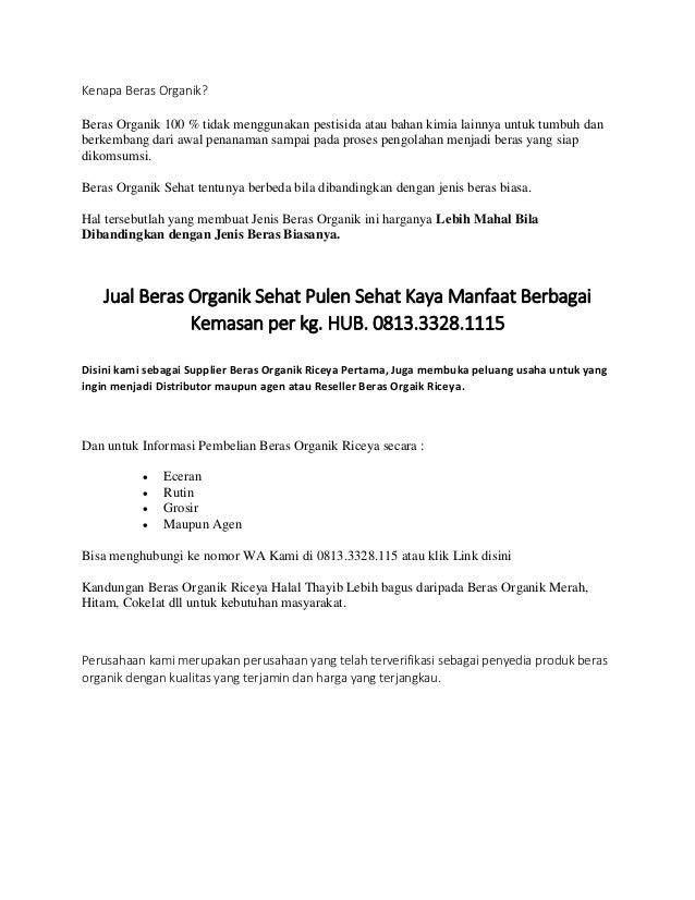 Jual Beras Organik Riceya Di Malang Hub 0821 3166 7483