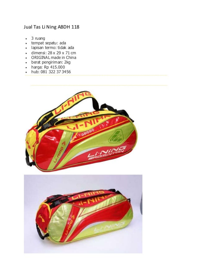 Jual Tas Li Ning ABDH 118  3 ruang  tempat sepatu: ada  lapisan termo: tidak ada  dimensi: 28 x 29 x 71 cm  ORIGINAL ...