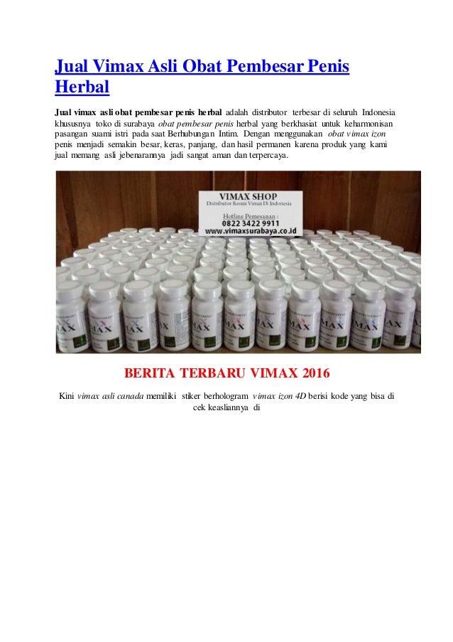Jual Vimax Asli Obat Pembesar Penis Herbal Jual vimax asli obat pembesar penis herbal adalah distributor terbesar di selur...
