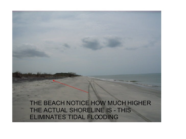 THE BEACH NOTICE HOW MUCH HIGHER THE ACTUAL SHORELINE IS - THIS ELIMINATES TIDAL FLOODING