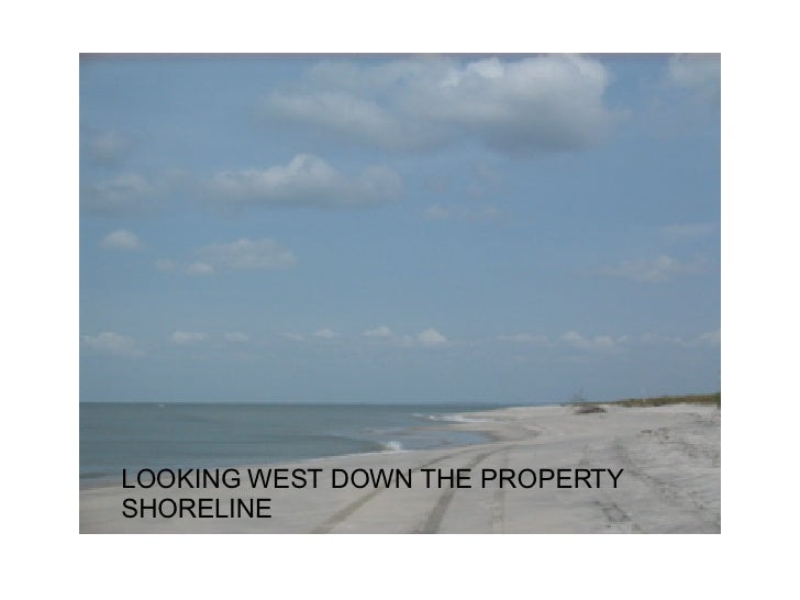LOOKING WEST DOWN THE PROPERTY SHORELINE
