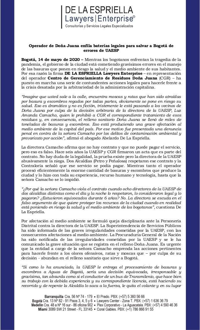 www.lawyersenterprise.com Operador de Doña Juana enfila baterías legales para salvar a Bogotá de errores de UAESP Bogotá, ...