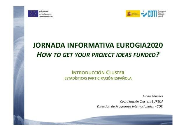 UNIÓN EUROPEA Fondo Europeo de Desarrollo Regional (FEDER) Una manera de hacer Europa JORNADA INFORMATIVA EUROGIA2020 HOW ...