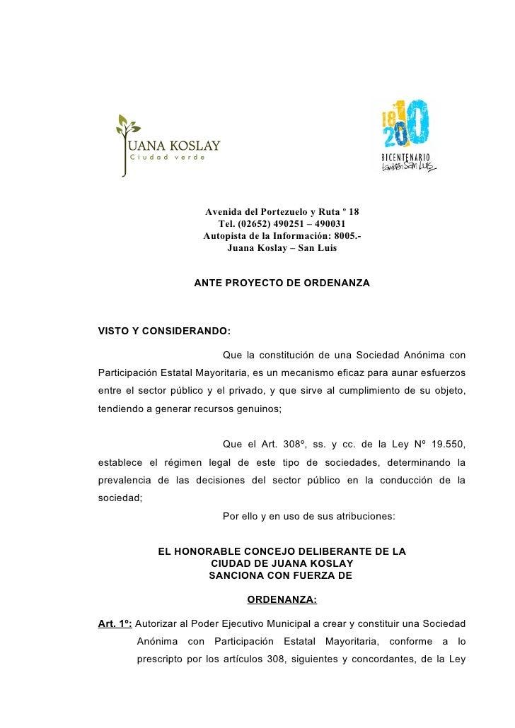 Avenida del Portezuelo y Ruta º 18                           Tel. (02652) 490251 – 490031                        Autopista...