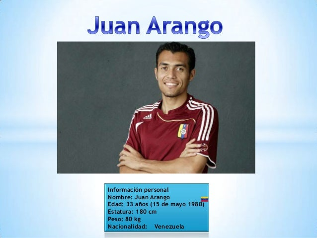 Información personal Nombre: Juan Arango Edad: 33 años (15 de mayo 1980) Estatura: 180 cm Peso: 80 kg Nacionalidad: Venezu...