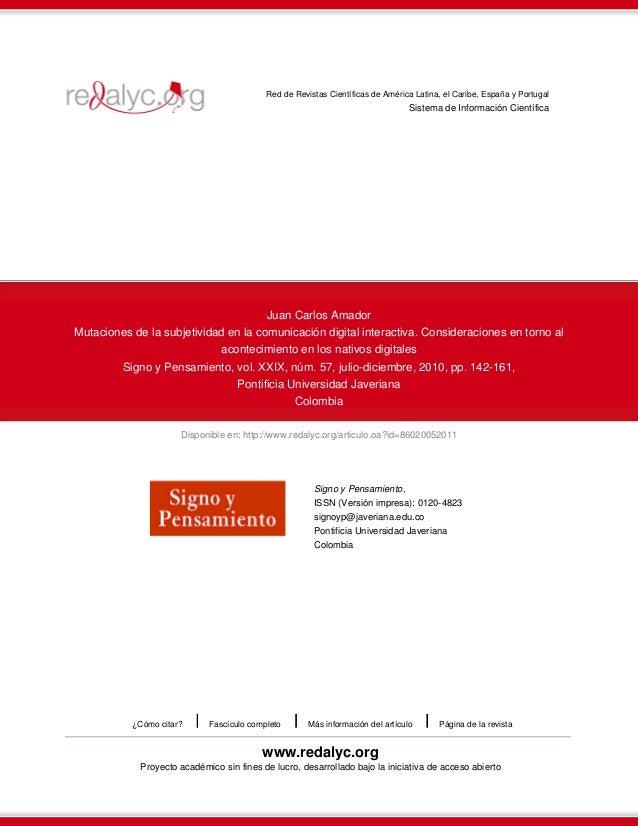 Disponible en: http://www.redalyc.org/articulo.oa?id=86020052011 Red de Revistas Científicas de América Latina, el Caribe,...