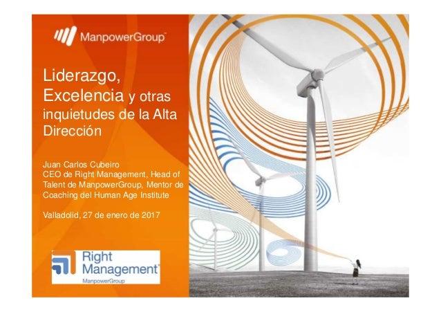 Liderazgo, Excelencia y otras inquietudes de la Alta Dirección Juan Carlos Cubeiro CEO de Right Management, Head of Talent...