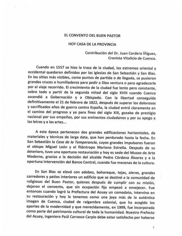 EL CONVENTO DEL BUEN PASTOR HOY CASA DE LA PROVINCIA  Contribución del Dr.  Juan Cordero Íñiguez,  Cronista Vitalicio de C...
