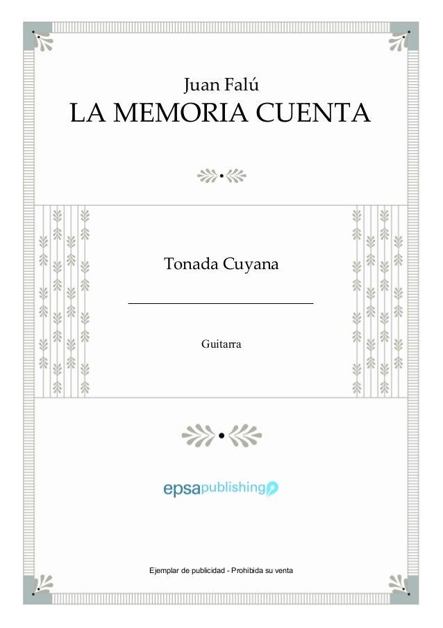 Juan Falú Tonada Cuyana Guitarra Ejemplar de publicidad - Prohibida su venta