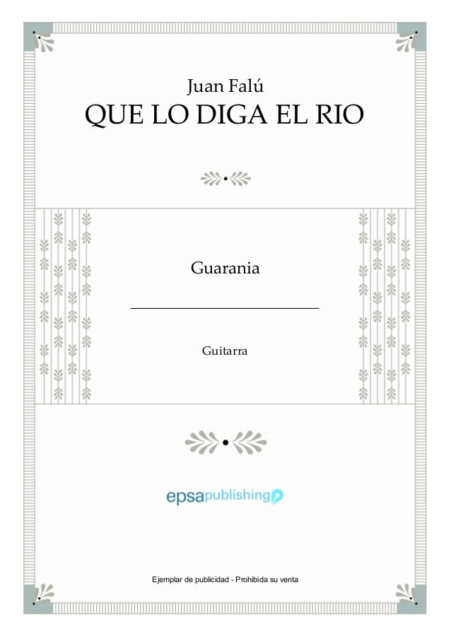 Juan Falú Guarania Guitarra Ejemplar de publicidad - Prohibida su venta
