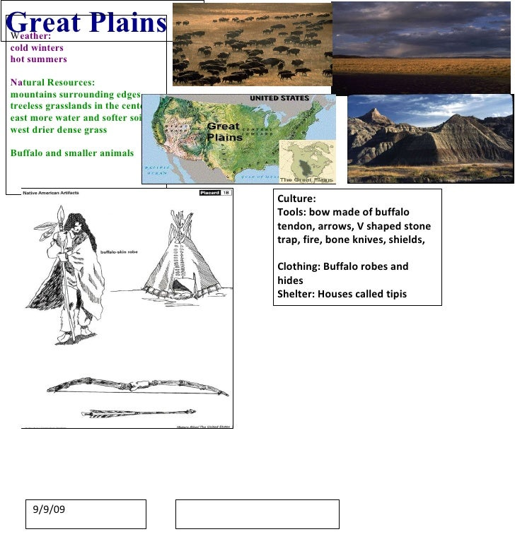 Great Plains W eather: cold winters  hot summers Na tural Resources: mountains surrounding edges treeless grasslands in th...