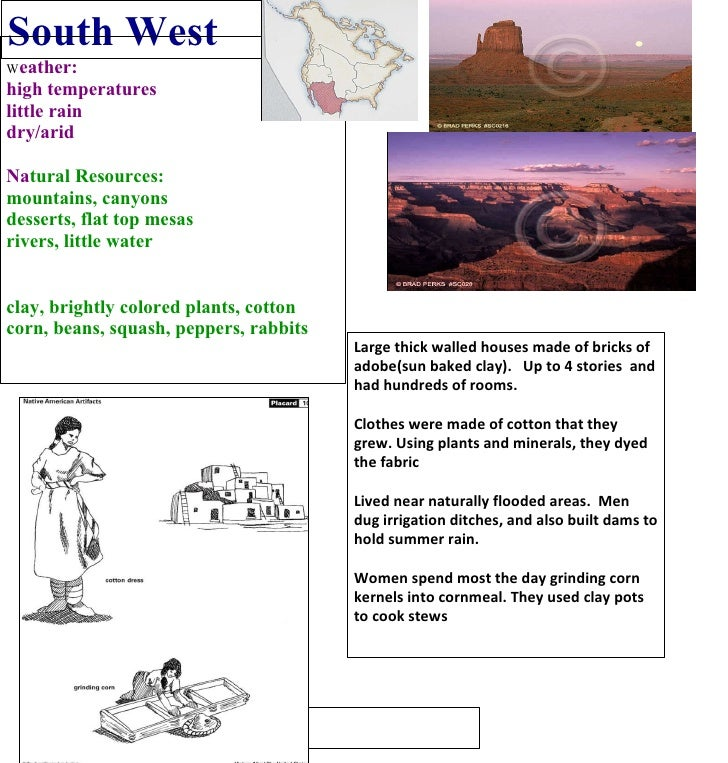 South West W eather: high temperatures little rain  dry/arid Na tural Resources: mountains, canyons desserts, flat top mes...