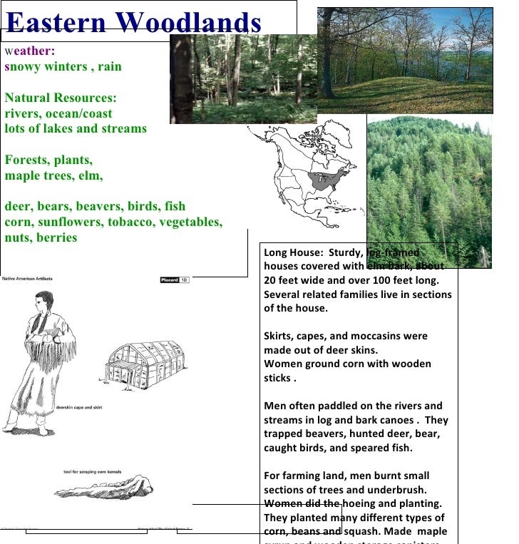 Eastern Woodlands W eather: s nowy winters , rain Natural Resources: rivers, ocean/coast lots of lakes and streams Forests...