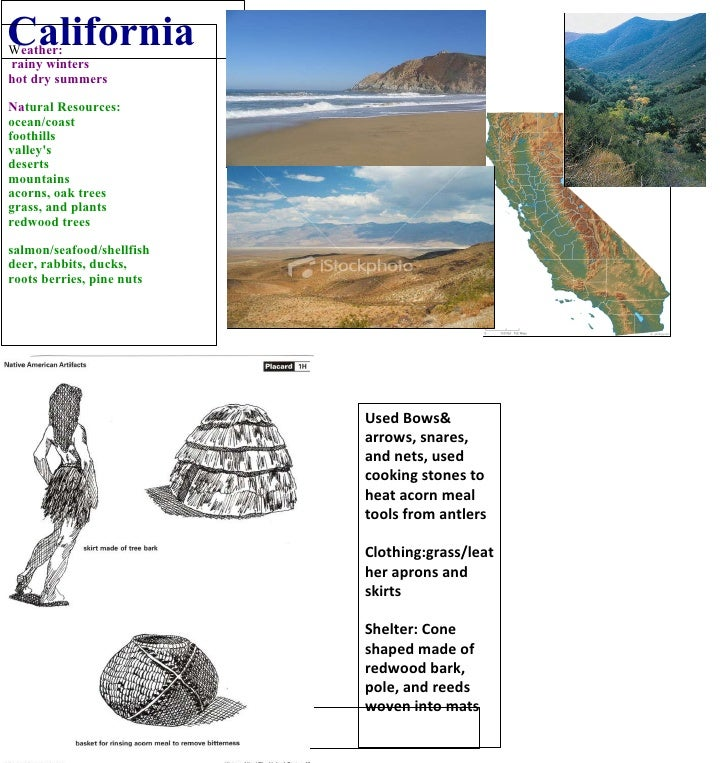 California W eather: rainy winters hot dry summers Na tural Resources: ocean/coast foothills valley's deserts mountains ac...