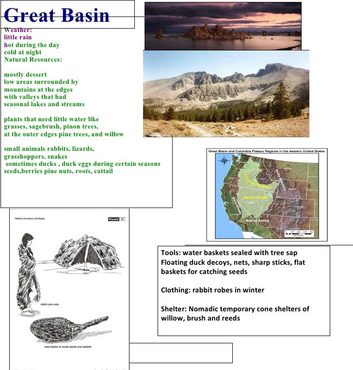 Great Basin W eather: little rain h ot during the day  cold at night Natural Resources: mostly dessert low areas surrounde...