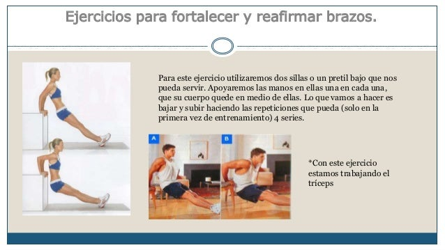 Ejercicios para fortalecer y reafirmar brazos.  Para este ejercicio utilizaremos dos sillas o un pretil bajo que nos  pued...