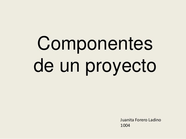 Componentes de un proyecto Juanita Forero Ladino 1004