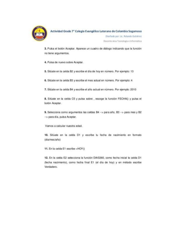 Actividad Grado 7° Colegio Evanglico Luterano de Colombia Sogamoso Dis«_~rai. b por LIL.  Rolando Gutierrez  Lluuv-lu alum...
