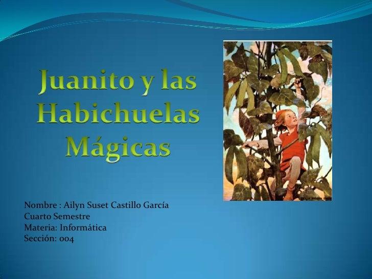 Nombre : Ailyn Suset Castillo García Cuarto Semestre Materia: Informática Sección: 004