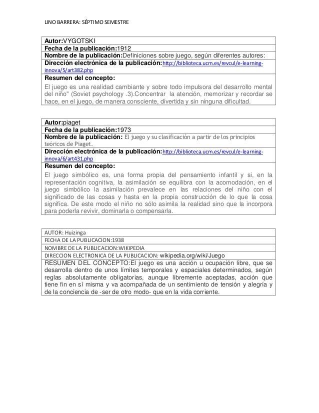 LINO BARRERA: SÉPTIMO SEMESTRE Autor:piaget Fecha de la publicación:1973 Nombre de la publicación: El juego y su clasifica...