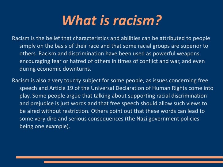 power point presentation racism A powerpoint presentation on racism there is a dictionary activity to do martin  luther kings 'i have a dream' speech (not all of it though) and some research.