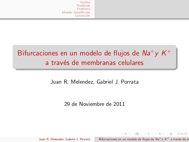 OutlineTrasfondoProblemaModelo SimplificadoConcluci´onBifurcaciones en un modelo de flujos de Na+y K+a trav´es de membranas ...