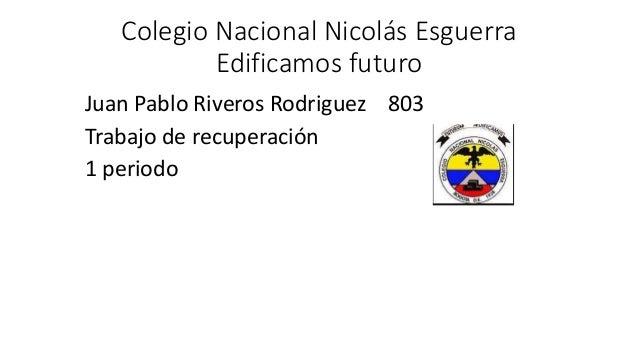 Colegio Nacional Nicolás Esguerra Edificamos futuro Juan Pablo Riveros Rodriguez 803 Trabajo de recuperación 1 periodo